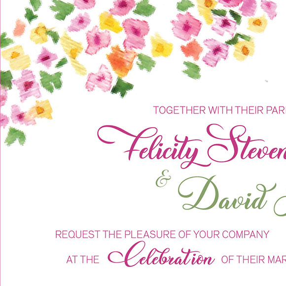 Hippie wedding invitation
