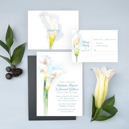 Calla Lily Watercolor Wedding Invitation