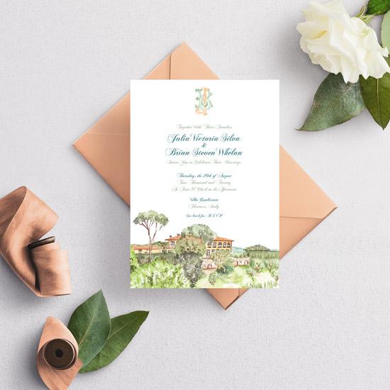 Villa Gamberaia Florence Italy Wedding Invitation