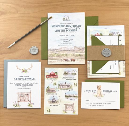 Country Ranch Watercolor Wedding Invitation Suite