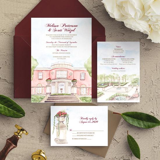 The Mansion in Butler, PA Custom Wedding Invitation