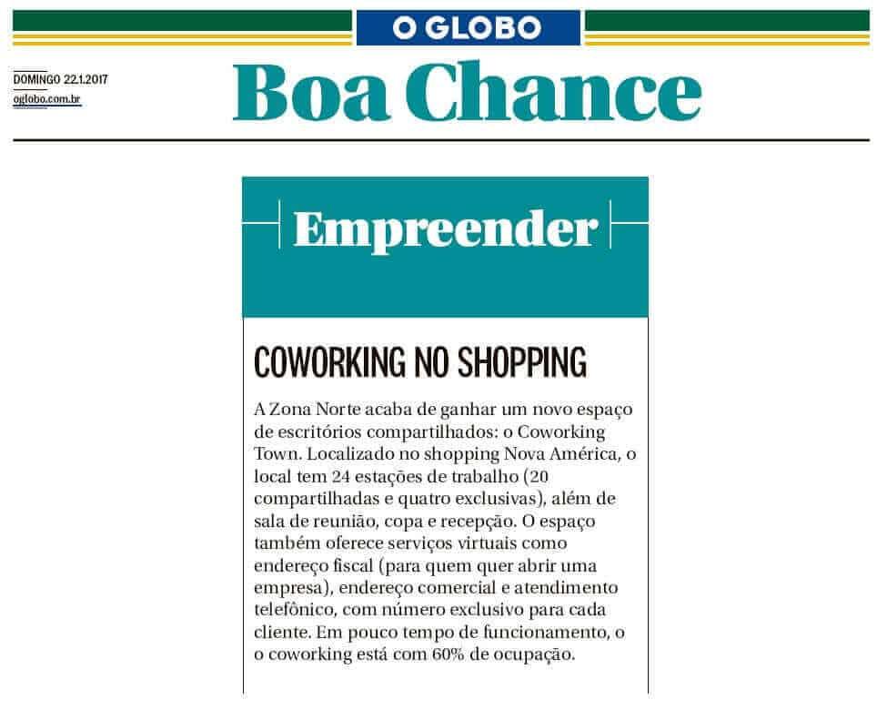 Matéria Sobre o Coworking Town no Jornal O Globo