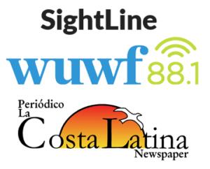 Logos of SightLine, WUWF88.1FM, Periodico La Costa Latina Newspaper