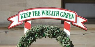 christmas wreath with red lightbulbs