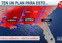 weather map of southeast U.S.