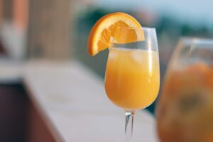 Mimosa on a bar counter