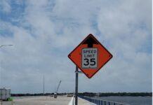 Traffic speed sign on bridge