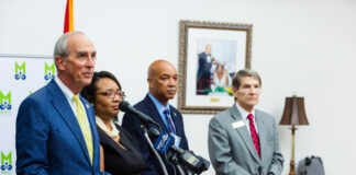 Mayor Stimpson and college representatives at press conference