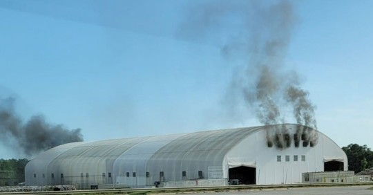 smoke emitting from recycle center