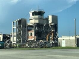 airport tower being demolished