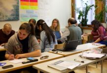 people studying in a classroom