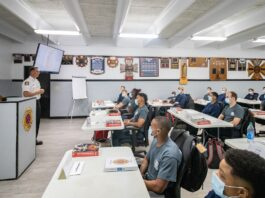 Firefighters in class training
