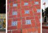 talavera tiles and fountain at Spanish Plaza
