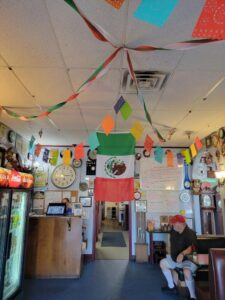restaurant entrance with Mexican decorations