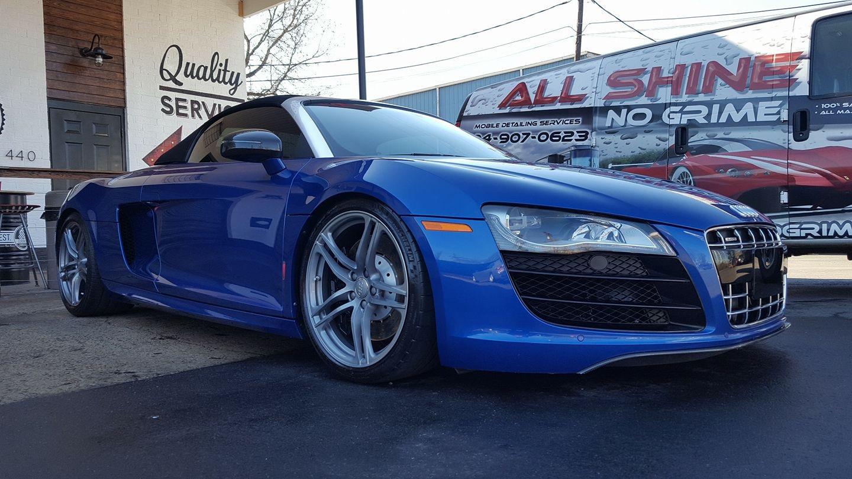 Shiny blue Audi car