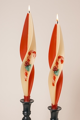 Candy Cane Candles-twised Beeswax Candles