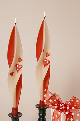Heart Candles-twisted beeswas candles