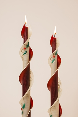 Ivory Gold Ribbon spiral candle-twised Beeswax Candles