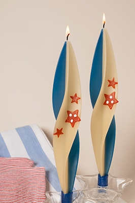 Patriotic candles-twisted beeswax candles