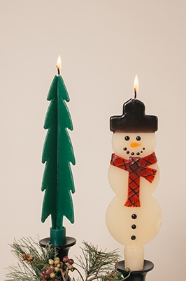 Snown Man Candles-twised Beeswax Candles