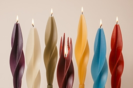 colorful Silouettes-twised Beeswax Candles