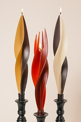 dual silhouette candles-twised Beeswax Candles