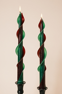 green burgundy-twisted beeswas candles