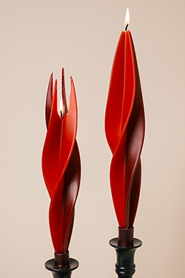 red-twised Beeswax Candles