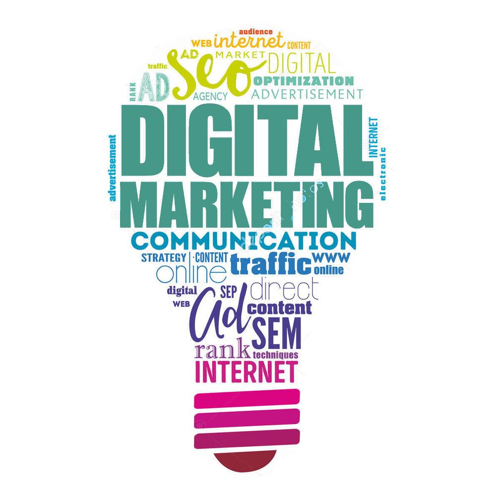 Digital Marketing light bulb word cloud, business concept background