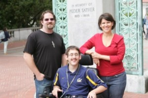 Berkeley student and parents pose for photo after reaching settlement with UC Berkeley.