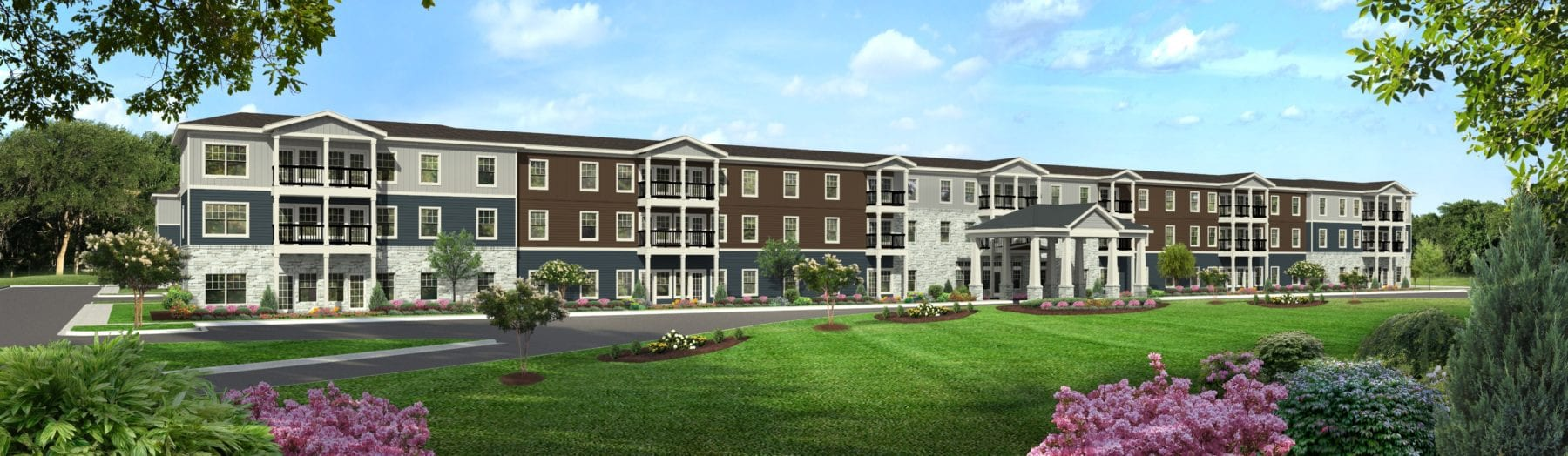 rendering of exterior prime west knoxville independent living community