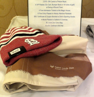 Auction items at the Evening Entertainment event.