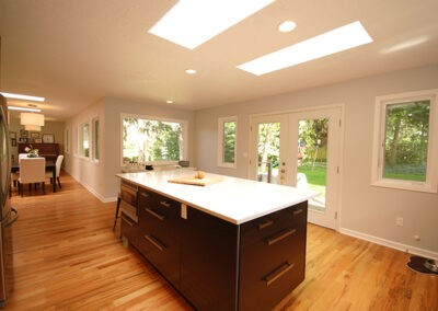 Kitchen remodel adds French doors and all new windows