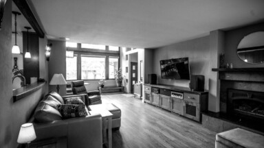 Black and white photo of the living room