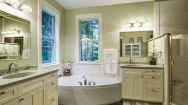 Bathroom remodel with custom Shaker cabinets