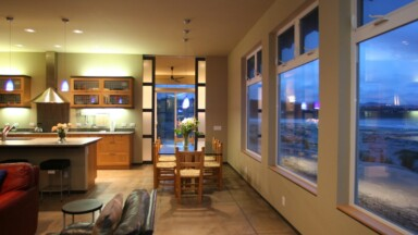 Oregon coast dining room remodel with open layout and ocean view