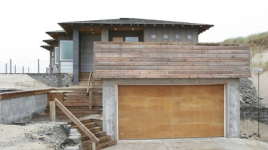 Custom home on the Oregon coast built on sand with concrete floors