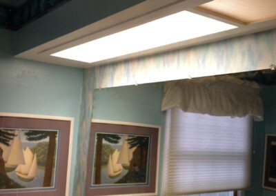 Photo of the soffit before it was taken out for the bathroom remodel