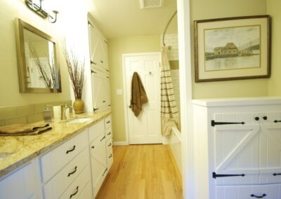 Bathroom remodel with white Shaker cabinets