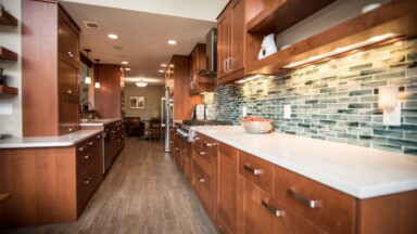 Remodeled kitchen with Shaker cabinets