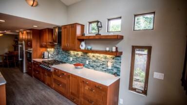 Kitchen remodel uses pocket windows to add natural light