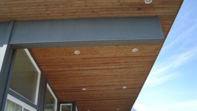 Detail photo of the soffit work for an exterior renovation for a home on the Oregon coast