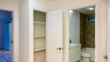 Bathroom remodel storage closet