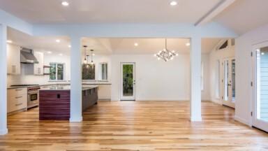 Home remodel with open floor plan