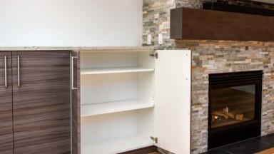 Open floor plan remodel with IKEA storage cabinet