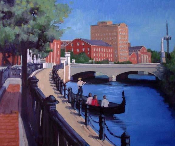 Waterplace Park oil on canvas  by Eileen Mayhew