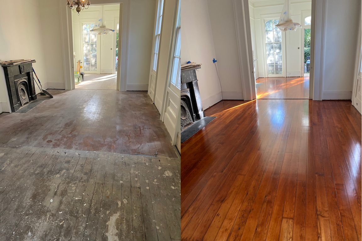 Before and after photo of red pine hardwood flooring in a living room with black iron fireplace