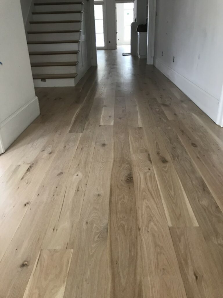 Photo of bleached light oak hardwood with water-based polyurethane