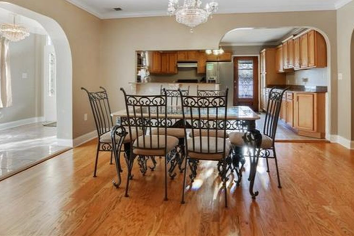 This is prefinished red oak in a dining room.