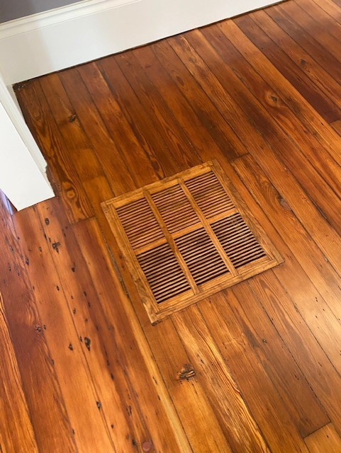 wooden floor grill custom matched to surrounding floor